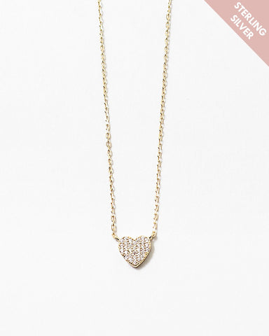 BITZ CZ HEART NECKLACE - GOLD OR SILVER