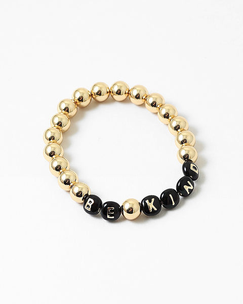 BITZ GOLD BALL MESSAGE BRACELET - BE KIND 2 COLOR OPTIONS