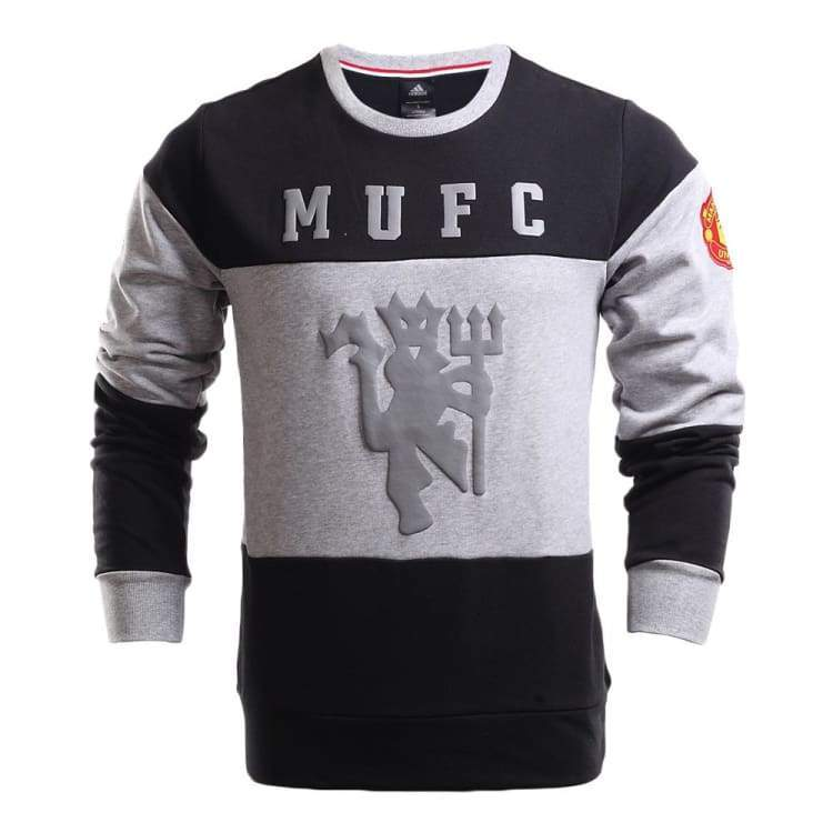 Hoodies & Sweaters: Adidas Manchester United 16/17 Crew Sweat Aj1248 - Adidas / Xs / Grey / 1617 Adidas Clothing Grey Hoodies & Sweaters |