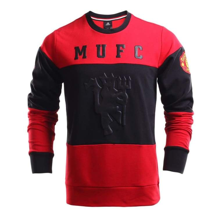 Hoodies & Sweaters: Adidas Manchester United 16/17 Crew Sweat Aj1249 - M / Black / Red / Adidas / 1617 Adidas Black / Red Clothing Hoodies &