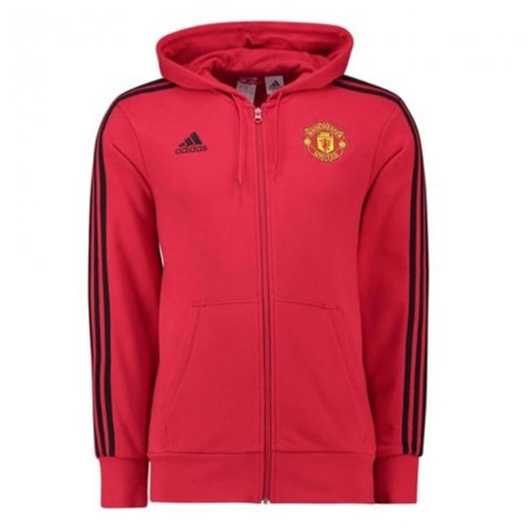 Hoodies & Sweaters: Adidas Manchester United 1819 3-Stripes Hoodie Red D95965 - XS / Red / adidas / 1819 Adidas Clothing Hoodies & Sweaters