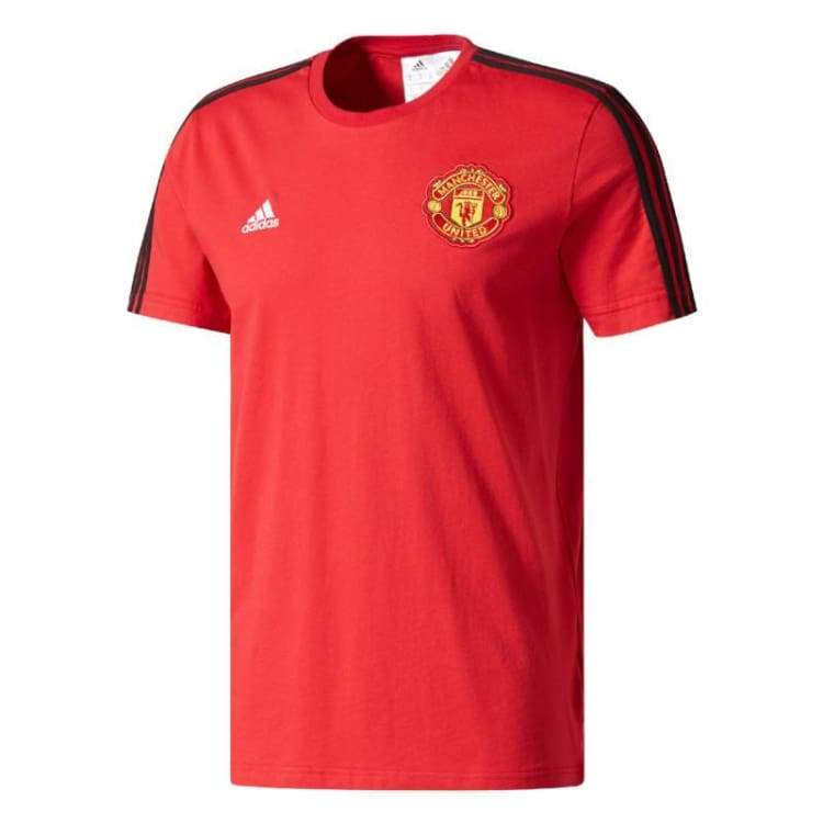 Tees / Short Sleeve: Adidas Mufc 17/18 3 Stripe Tee Bq2226 - Adidas / Xs / Red / 1718 Adidas Clothing Land Manchester United |