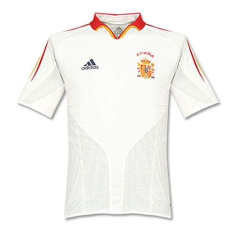 Jerseys / Soccer: Adidas National Team 2004 Spain (A) S/s Jersey - Adidas / L / White / 2004 Adidas Away Kit Clothing Jerseys |