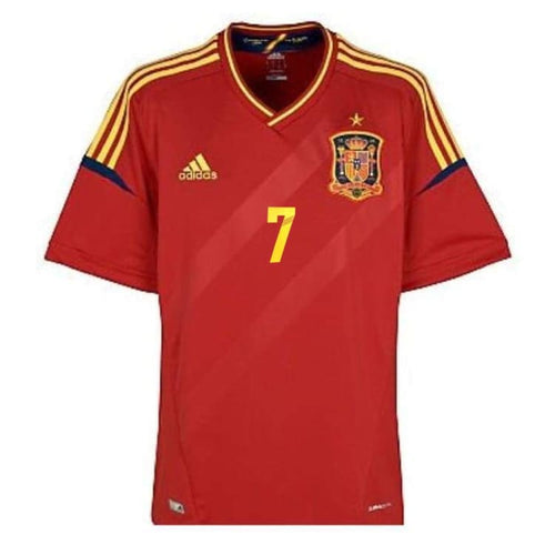 Jerseys / Soccer: Adidas National Team 2011/12 Spain (Home) S/s Jersey [#7 David Villa Nameset] - Adidas / M / Red / 2012 Adidas Clothing