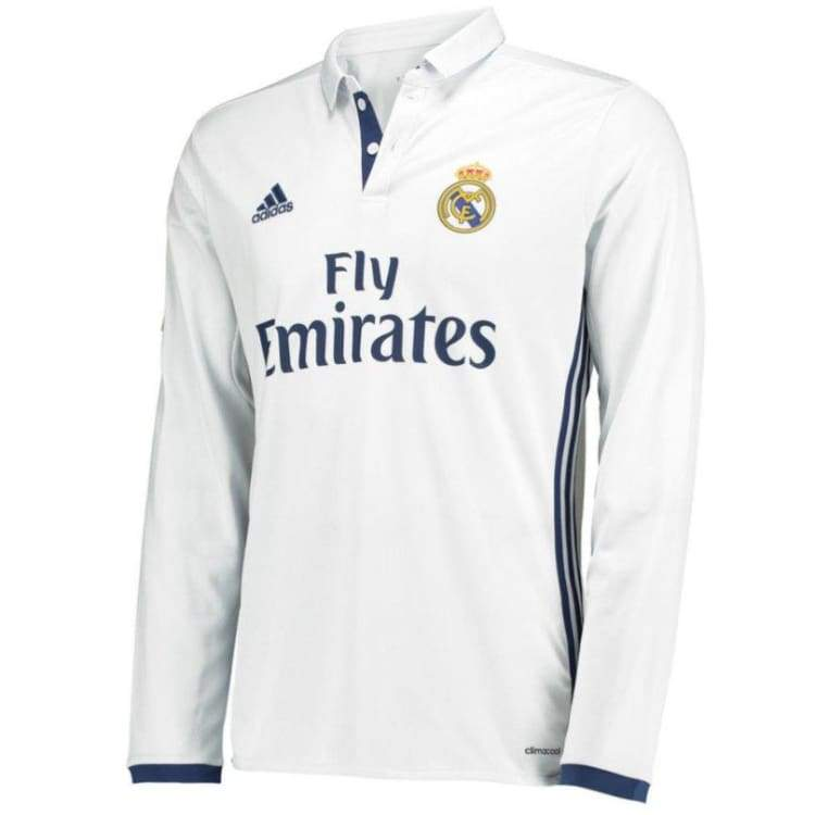 best service cb951 6776c Adidas Real Madrid 16/17 (H) L/S Jersey WHT AI5184
