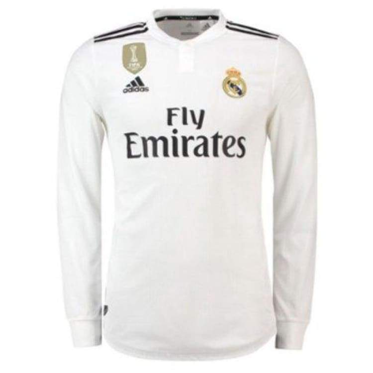e50568a8d Jerseys   Soccer  Adidas Real Madrid 18 19 Home Authentic L s Jersey