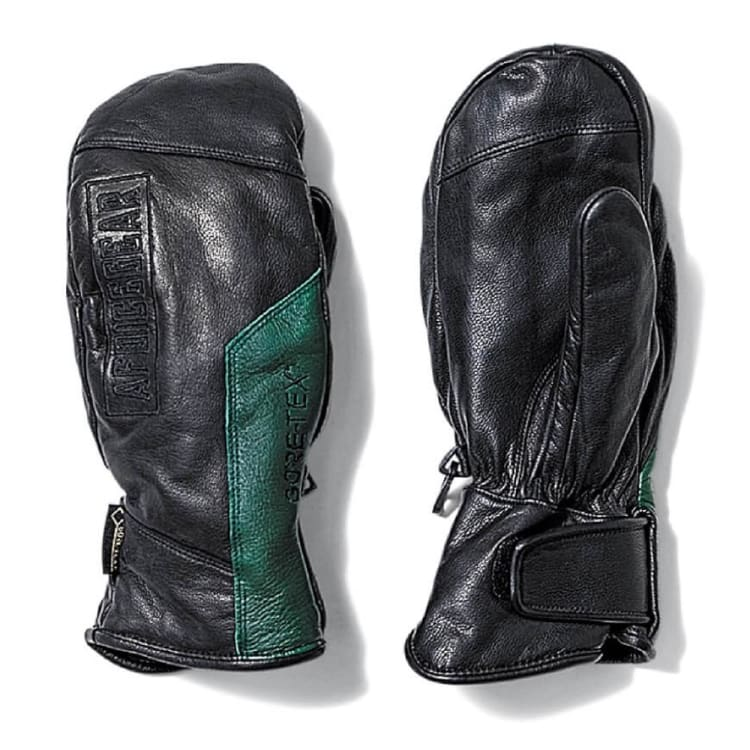 Gloves & Mittens / Snow: AFD GORE-TEX Leather Mitt Glove-BLACK/FOREST GREEN - AFDICEGEAR / S / Black/Forest Green / 1920 Accessories