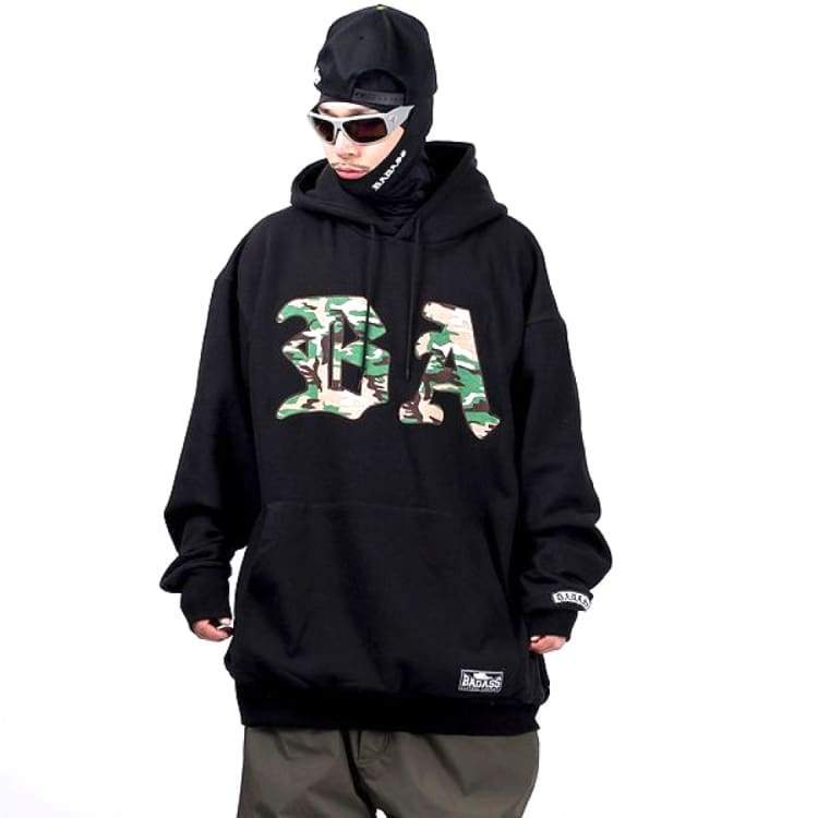 Hoodies & Sweaters: Badass Camo Hoodie - Black - Badass / Black / 3Xlt / Badass Black Clothing Hoodies & Sweaters Ice & Snow |