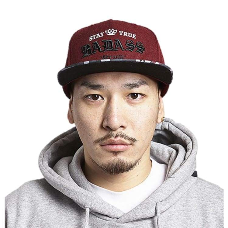 Headwear / Caps: Badass Logo Snapback - Burgundy/camo - Badass / Burgundy/camo / Accessories Badass Burgundy/camo Caps Head & Neck Wear |