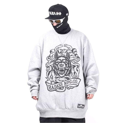 Hoodies & Sweaters: Badass Tatoo Crewneck - Grey - Badass / Grey / 4Xlt / Badass Clothing Grey Hoodies & Sweaters Ice & Snow |