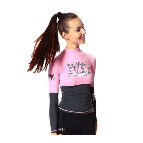 Rashguards & Tops: Banana Surf: Break Rashguard - Pink/dark Gary - Banana Surf Clothing On Sale Pink/dark Gary Rashguards & Tops
