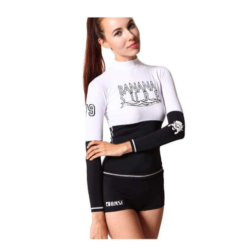Rashguards & Tops: Banana Surf: Break Rashguard - White/black - Banana Surf Clothing On Sale Rashguards & Tops Surf Into Yoga Retreats