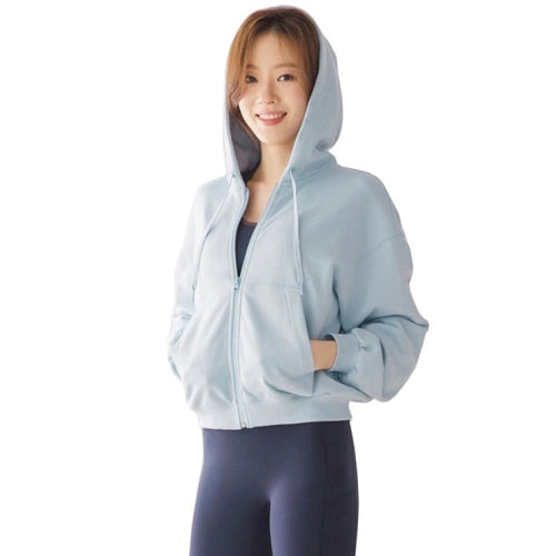 Barrel Fit Womens Cotton Crop Zip Up Hoodies-SKYBLUE - Fitness Hoodies & Sweaters | BARREL HK