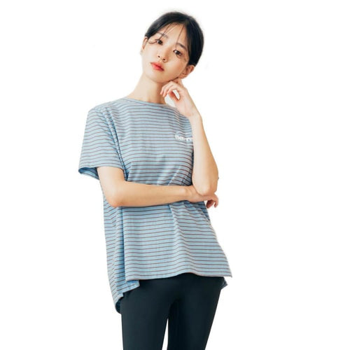Barrel Fit Womens Semi Over Pattern S/S Tee-BLUE STRIPE - Short Sleeves | BARREL HK
