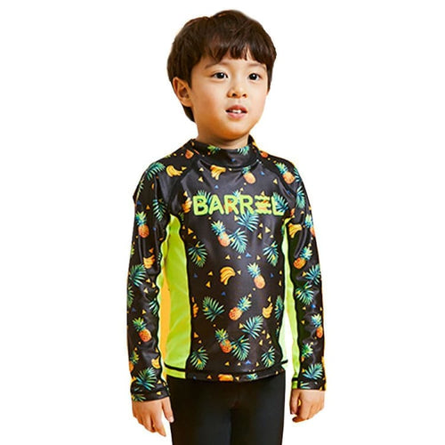 Barrel Kids Tommy Rashguard-BLACK TROPIC/NEON YELLOW - Rashguards