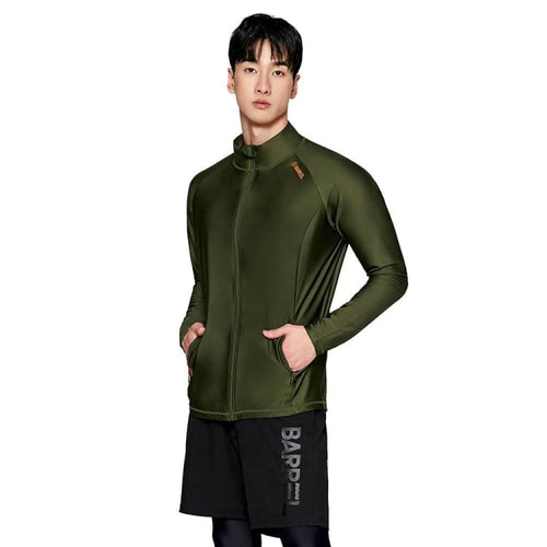 BARREL Mens Herry Loose Fit Zip Up Rashguard-KHAKI - S / Khaki - Rashguards | BARREL HK