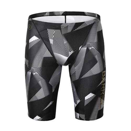 Barrel Mens Racing Fit Jammer Pattern Swimsuit-GEOMETRIC BLACK - XS / Geometric Black - Swimsuits