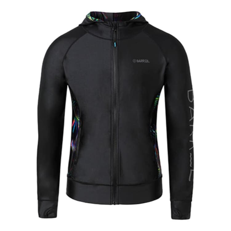 Rashguards & Tops: BARREL MENS TULUM ZIP-UP HOODIE RASHGUARD - BLACK/FOREST [KOREAN BRAND] - BARREL / M / Black/Forest / 2018 Wakefest