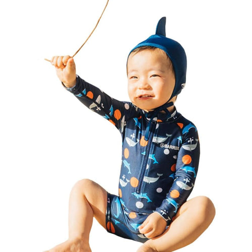 Barrel Toddler Rash Suit Set-ORANGE WHALE - S / Orange Whale - Rash Suit Sets