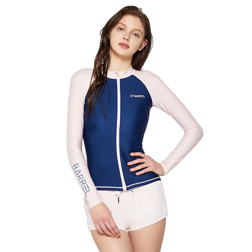 Barrel Womens Piha Zip-Up Rashguard-NAVY/BRIGHT PINK - Rashguards