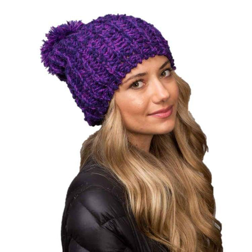 Headwear / Beanies: Celtek Slouchy Pom Purple 1516 - Celtek / Purple / One Size / 1516 Accessories Celtek Head & Neck Wear Headwear /