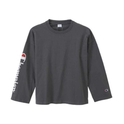 Tees / Long Sleeve: Champion Long Sleeve T-Shirt C3-L415 - Dark Gray [Japanese Version] - Champion / Navy / M / Basketball Champion Clothing