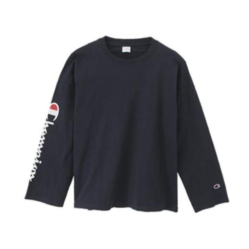 Tees / Long Sleeve: Champion Long Sleeve T-Shirt C3-L415 - Navy [Japanese Version] - Champion / Navy / M / Basketball Champion Clothing Land