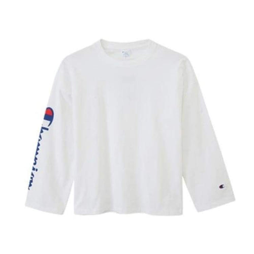 Tees / Long Sleeve: Champion Long Sleeve T-Shirt C3-L415 - White [Japanese Version - Champion / White / M / Basketball Champion Clothing