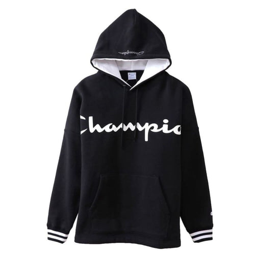 Hoodies & Sweaters: Champion Parka Pullover Hoodie - Black C3-N119 [Japanese Version] - Champion / L / Black / Basketball Black Champion