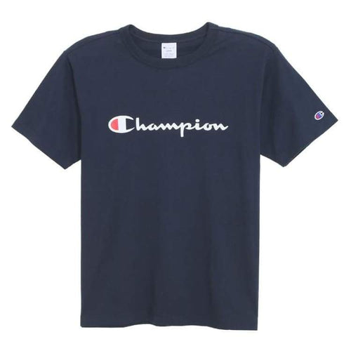 Tees / Short Sleeve: Champion S/s Basic Logo Tee C3-H374 - Navy [Japanese Version] - Champion / Navy / M / Basketball Black Champion