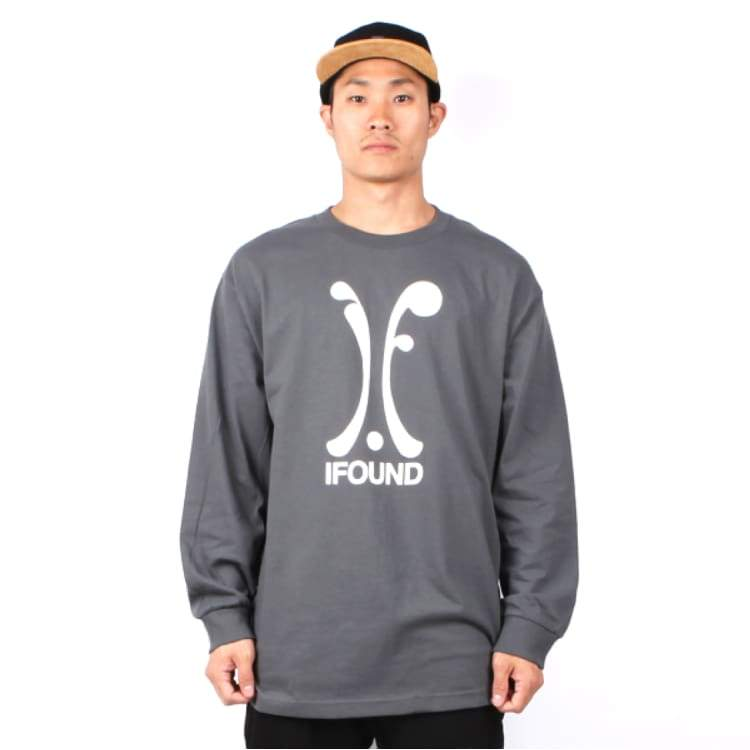 Tees / Long Sleeve: Ifound Logo Long Sleeve - Charcoal - Ifound / Charcoal / 2Xl / Charcoal Clothing Ice & Snow Ifound Mens |