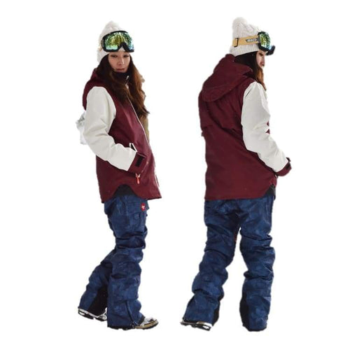 Jackets / Snow: Lilica Rose 2017 Ladies Ski And Snowboard Jacket [Burg X Wht]+Pants Set [Flw Dnm] [Sj-01] - 1617 Clothing Fl-05 Fun Factory