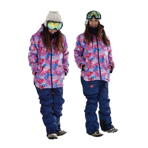 Jackets / Snow: Lilica Rose 2017 Ladies Ski And Snowboard Jacket [Flw]+Pants Set [Nvy] [Fl-05] - 1617 Clothing Fl-05 Fun Factory Ice & Snow