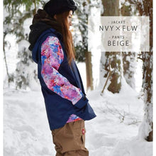 Jackets / Snow: Lilica Rose 2017 Ladies Ski And Snowboard Jacket [Nvy X Flw]+Pants Set [Beige] [Vt-02] - Vt-02 / S / Lilica Rose / 1617