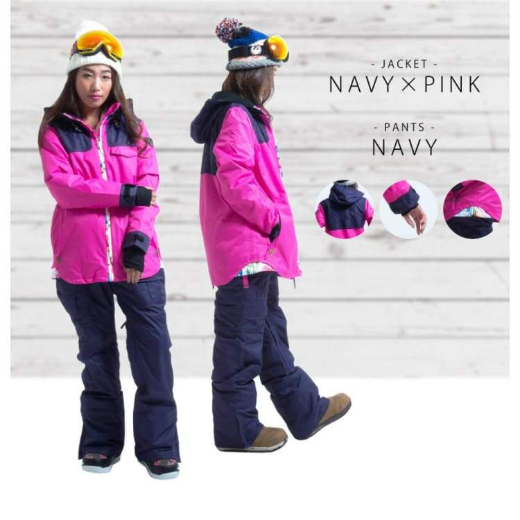 Jackets / Snow: Lilica Rose Ski And Snowboard Jacket [Nav X Pnk]+Pants Set [Nav] [Mg-01] - Mg-01 / S / Lilica Rose / 1617 Clothing Fun