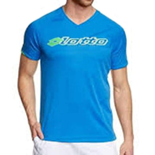Tees / Short Sleeve: Lotto MENS XAMU VN PL T-SHIRT-BLU MOO/FL GRN - Lotto / M / Blue / Causal,Clothing,Land,Lotto,Lotto HK |