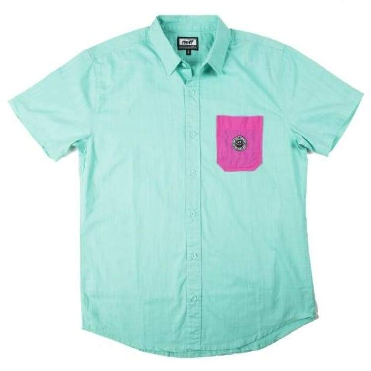 Shirts Ss / Casual: Neff Daily Button Up Sp15 - Teal - Neff / Teal / M / 2015 Clothing Land Mens Neff | Occn-Whiteline-15P50004Tealm