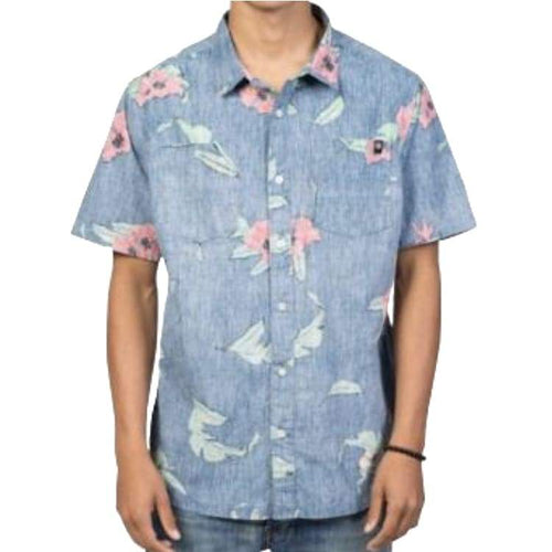 Shirts Ss / Casual: Neff Floral Push Ss Woven Sp17 - Navy - Neff / Navy / L / 2017 Clothing Land Mens Navy | Occn-Whiteline-17P50004Navy L