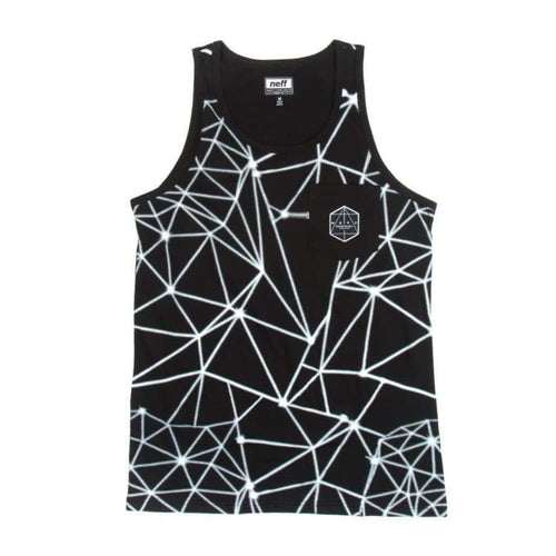 Tanks: Neff Fractalkat Tank - Black - Neff / Black / L / 2016 Black Clothing Land Mens | Occn-Whiteline-16P32010 Blackl
