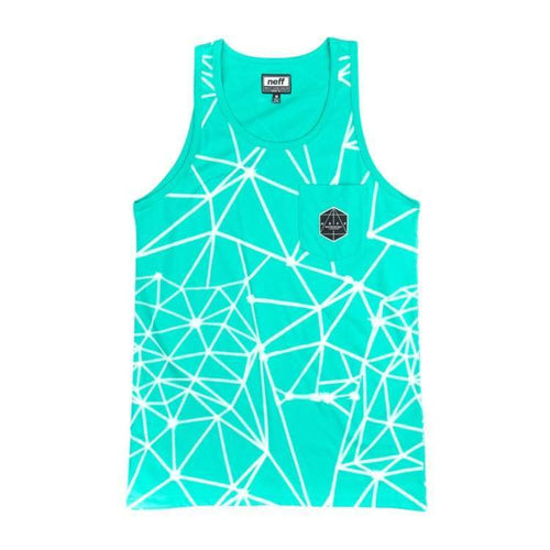 Tanks: Neff Fractalkat Tank - Pool Green - Neff / Pool Green / L / 2016 Clothing Land Mens Neff | Occn-Whiteline-16P32010 Pool Greenl