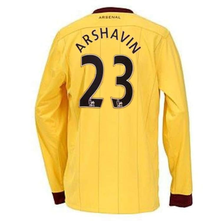 Jerseys / Soccer: Nike Arsenal 10/11 (A) L/S Jersey 386825-749 #23 ARSHAVIN - Nike / L / Yellow / 1011, ARSENAL, Away Kit, Clothing,