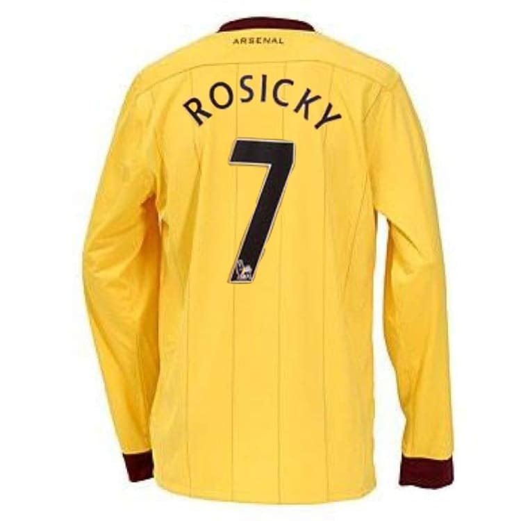 Jerseys / Soccer: Nike Arsenal 10/11 (A) L/S Jersey 386825-749 #7 ROSICKY - Nike / L / Yellow / 1011, ARSENAL, Away Kit, Clothing, Football