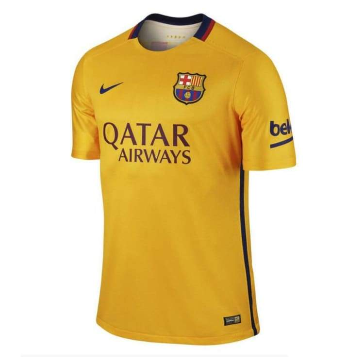 Jerseys / Soccer: Nike Fc Barcelona 15/16 (A) Ss Match Jersey 739659-740 - Nike / S / Yellow / 1516 Away Kit Barcelona Clothing Football |
