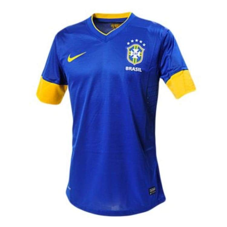 Jerseys / Soccer: Nike National Team 2012 Brazil (A) S/s Authentic Jersey 447935-493 - Nike / M / Blue / 2012 Away Kit Blue Brazil Brazil