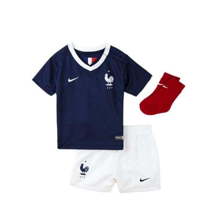 Jerseys / Soccer: Nike National Team 2014 World Cup France (H) Kids Set S/s 577922-410 - Nike / Month: 3-6 / Navy / 2014 Clothing Football