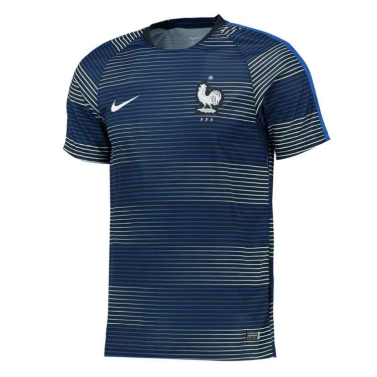 Jerseys / Soccer: Nike National Team 2016 France Flash Pre-Match Jersey 725396-421 - Nike / S / Navy / 2016 Clothing Football France France