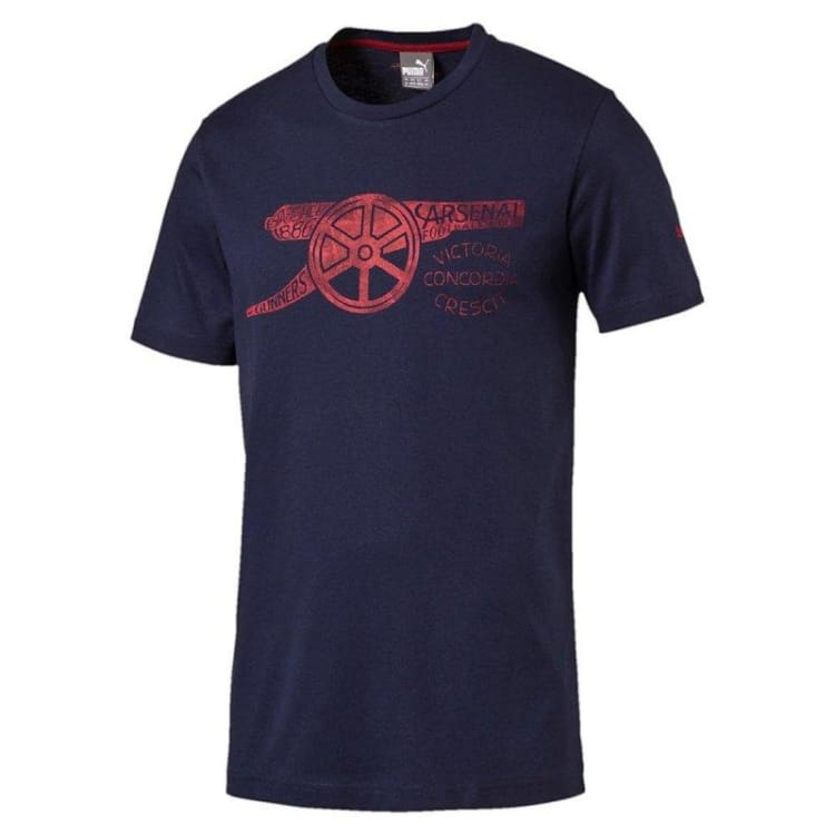 Tees / Short Sleeve: Puma Arsenal 16/17 Graphic Cannon Tee 750446-04 - Puma / S / Navy / 1617 ARSENAL Clothing Fans Wear Football |