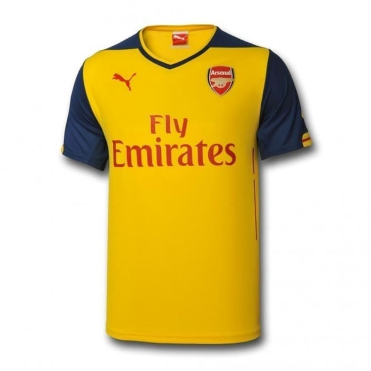 Jerseys / Soccer: Puma Arsenal FC 2014 (A) Kids Replica Jersey 746464-08 - Puma / Yellow / Kids: 128 / 1415 ARSENAL Away Kit Clothing