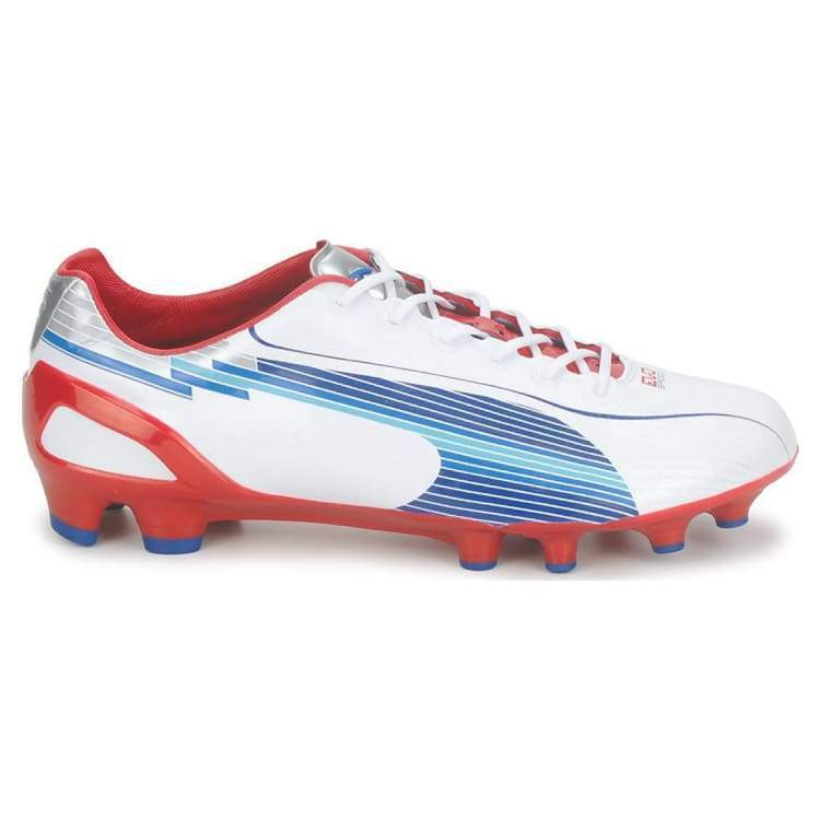 Cleats / Soccer: Puma Evospeed 1 Fg White-Limoges-Ribbon Red 102527-01 - Puma / Uk: 7.0 / White/limoges/red / Cleats / Soccer Football