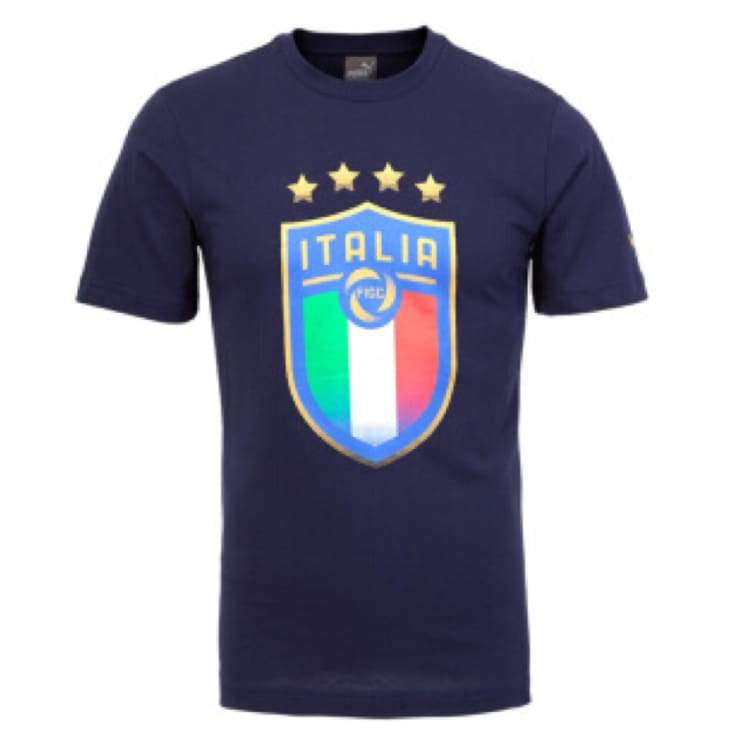 Tees / Short Sleeve: Puma Figc Italia Badge Tee - Peacoat 752613-10 - Puma / Xs / Peacoat / 2018 Fifa World Cup 2018 World Cup Clothing Fans